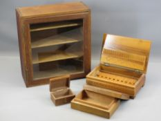 TREEN - vintage oak shelved single door tabletop cabinet, cigarette box and two other boxes