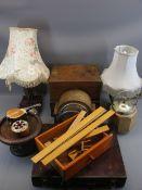 TREEN - work boxes, ginger jar, shaped table lamp, mantel clock, ETC
