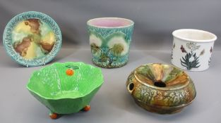 MAJOLICA TYPE PLANTER & PLATE, Portmeirion planter, Beswick Greenleaf dish and an old spittoon