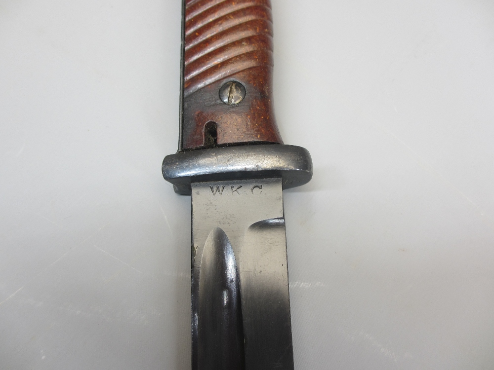 GERMAN WW2 S.84/98 BAYONET & SCABBARD, 1937 and coppel GmbH No 2888/9 to the scabbard, the blade - Image 5 of 5
