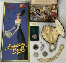 COSTUME JEWELLERY & COLLECTABLES - a mixed group to include an original art card for Fred Karno's