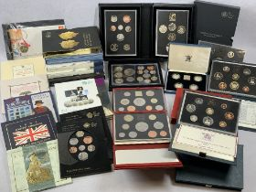 UNITED KINGDOM PROOF COIN SETS, Royal Mint Annual Coin sets and uncirculated coin collections, cased