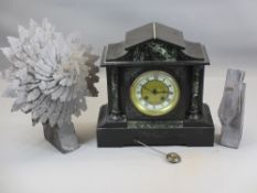 SLATE MANTEL CLOCK - with marble front, brass bezel and Roman numerals on a painted and brass