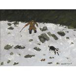OWEN MEILIR oil on board - farmer on a snowy hillside with a dog, 29 x 39.5cms