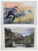 WILLIAM SELWYN limited edition prints (2) 292/300 - a farmer with a sheep dog herding sheep, 32.5
