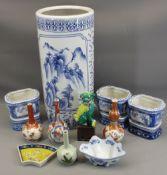 VINTAGE & MODERN CHINESE & JAPANESE CERAMICS to include Imari bottle vase, Kutani vases, modern blue