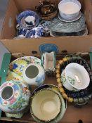 CHINESE POTTERY JAR, MALING DISH, Masons Nangpo plates, Willow pattern teaware, copper lustre,