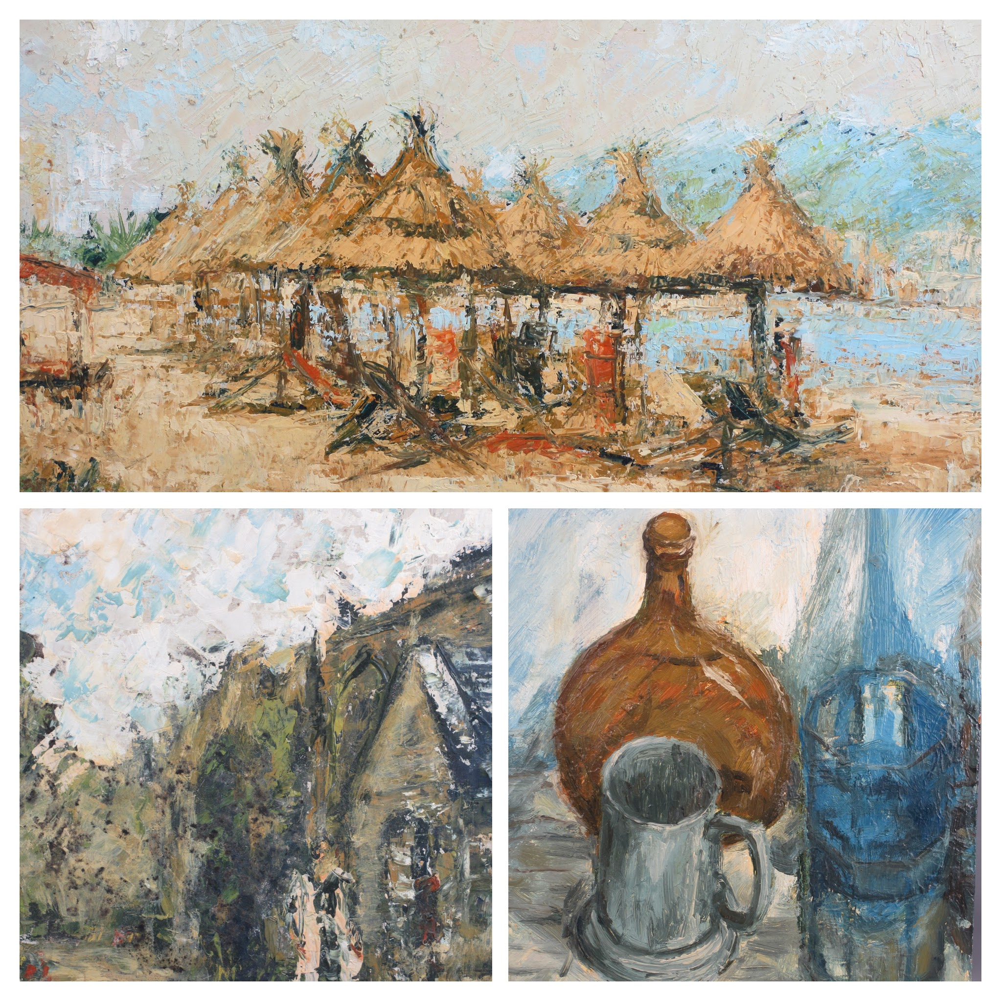 ALAN MACKAY acrylic on board - tropical beach scene with straw umbrellas, Impressionistic painting