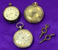 FOB WATCHES - CIRCA 1900 LADY'S (3) including an 18ct gold cased key wind example, the gold coloured