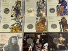 THE ROYAL MINT - The Queen's Beasts and others, uncirculated coins 2 x 2017, 2 x 2018, 2 x 2019,