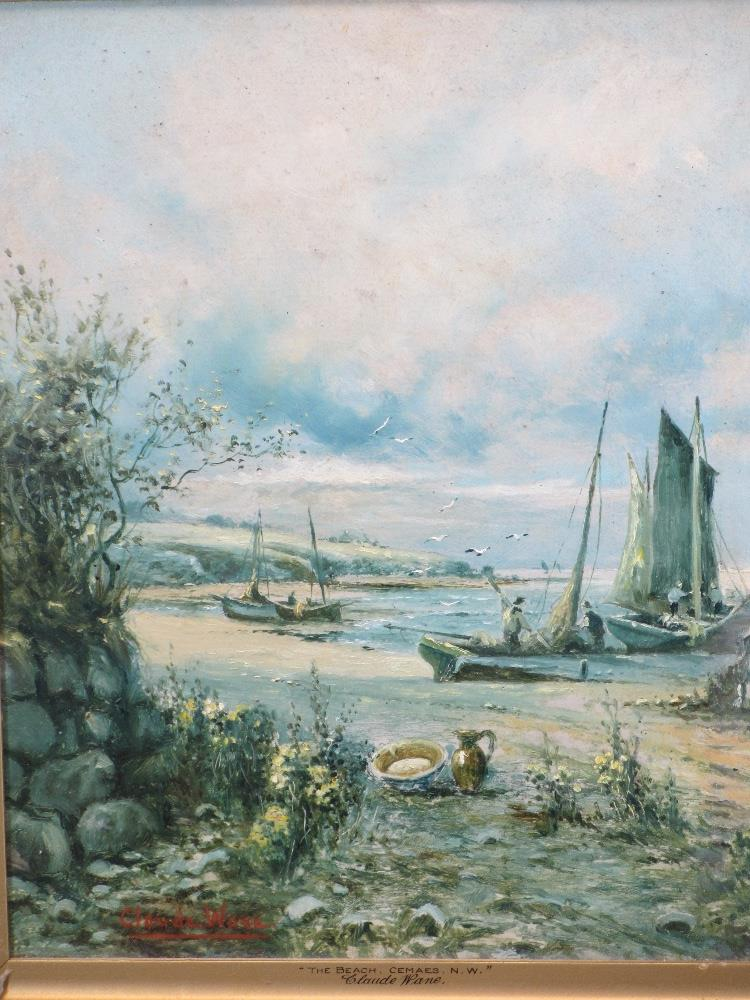CLAUDE WANE oil on board - fishermen at Cemaes Bay entitled 'The Beach Cemaes NW', 39.5 x 32cms,