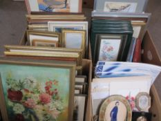 FRAMED & UNFRAMED WATERCOLOURS, vintage and later pictures and prints, a good mixed quantity (within