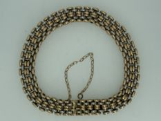 LADY'S TWO TONE BRACELET - UNMARKED BUT BELIEVED GOLD , panther link style but with a double central
