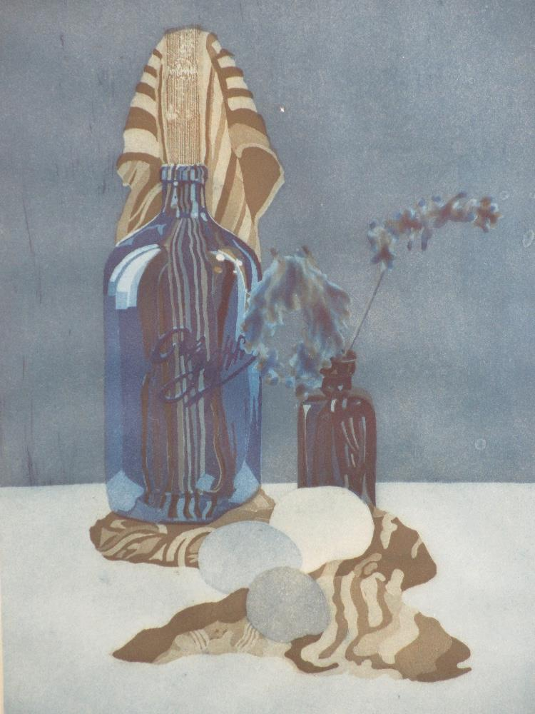 TIMOTHY BERRY (American) print - Still Life with Zephyr bottle circa 1960s, 49 x 30cms