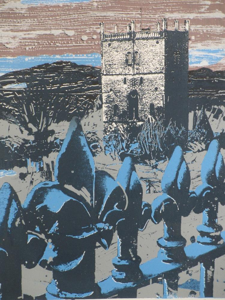 DAVID ALYN EVANS print - 'St Davids with non-conformist fence #4, signed in pencil, 40 x 29cms