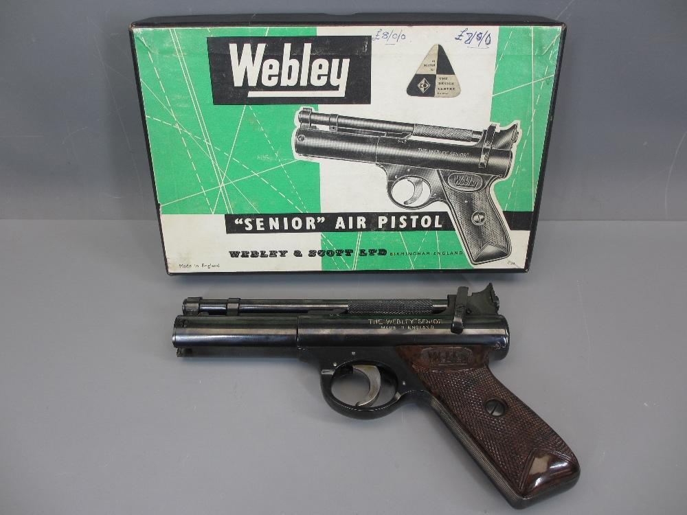 WEBLEY & SCOTT LTD BIRMINGHAM SENIOR .22 CALIBRE AIR PISTOL - near mint in original box, 20.5cms