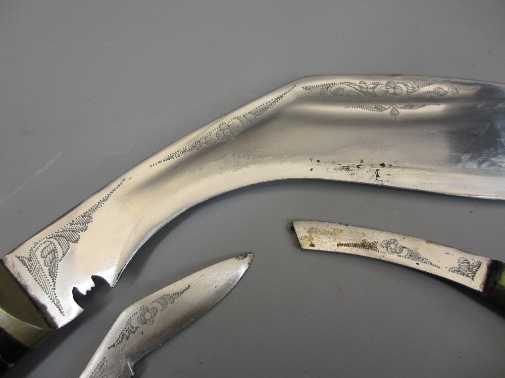 BRITISH NO 4 SPIKE BAYONETS (3), Eastern Kukri knife and a William Rodgers serrated edge knife - Image 3 of 5