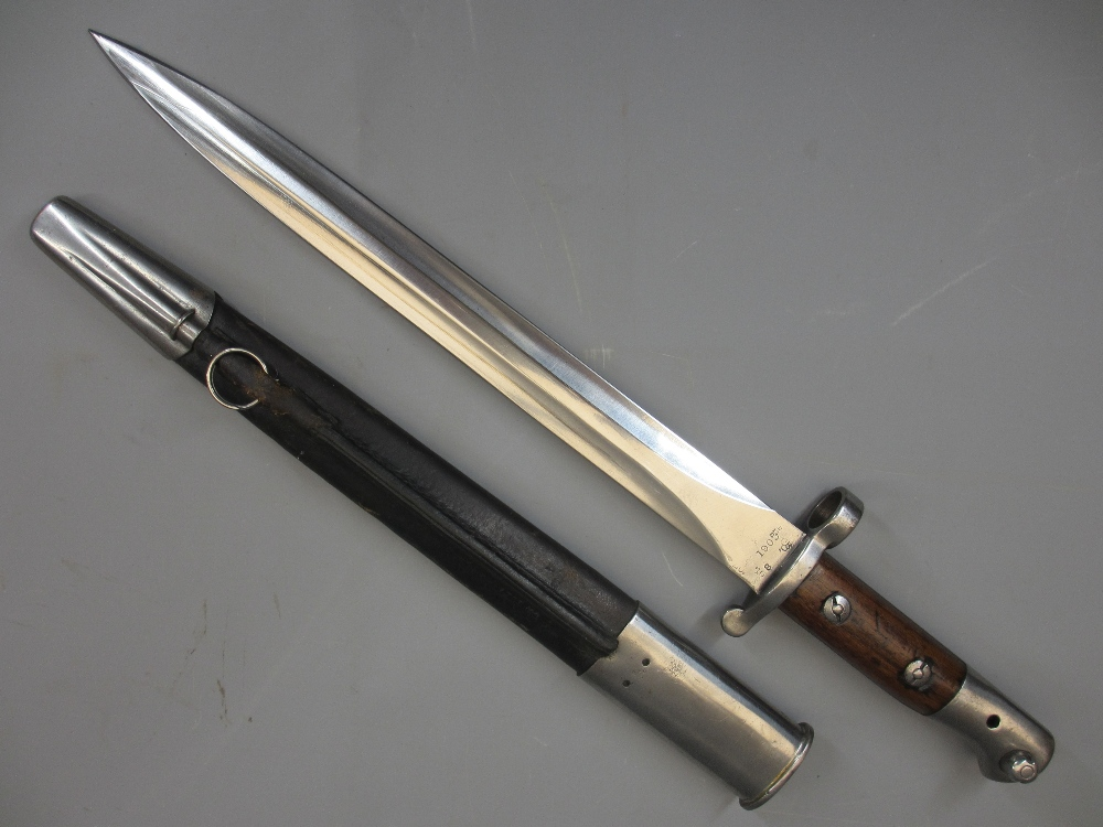 CHAPMAN SHEFFIELD 1903 DOUBLE EDGED BAYONET in metal mounted leather scabbard, the 12in blade
