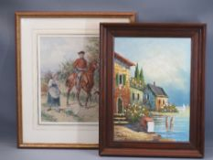 MARKEY oil on canvas - continental harbour scene, 33 x 27cms and GUSTAVE-DAVID watercolour - a man
