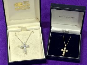 OPAL SET 9CT GOLD CROSS & NECKLACE and a paste set sterling silver cross and necklace, 1.75 and 2.