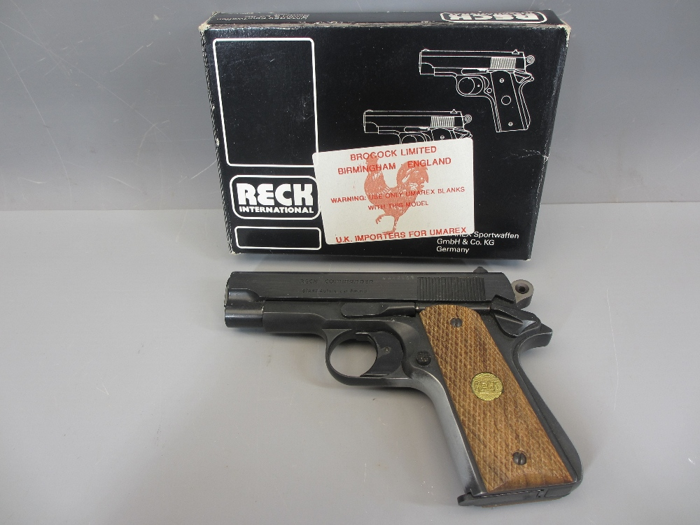 RECK COMMANDER 8MM AUTOMATIC BLANK FIRING STARTER PISTOL (1911 compact type), made in Western