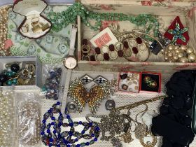 GOLD, SILVER & COSTUME JEWELLERY, a mixed quantity including a worn shank signet ring, possibly
