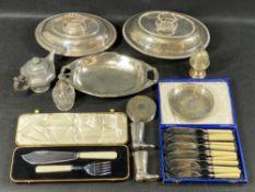 SILVER TOPPED GLASS SCENT INFUSER, EPNS entree dishes, cased cutlery and other plated ware, ETC