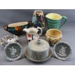 WEDGWOOD JASPERWARE TYPE POTTERY including a circular cheese dish, lustre vase, Blue Waters
