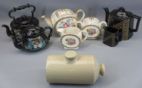 SADLER ROSE DECORATED THREE PIECE TEASET, Jackfield type teapots and a stoneware hot water bottle