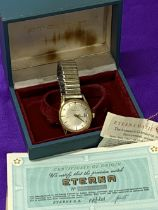 ETERNA-.MATIC GOLD PLATED CALENDAR GENT'S WRISTWATCH , champagne dial with baton markers,