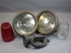 VINTAGE SPOTLIGHTS - metal based, a pair, 26cms diameter, an old bugle, ETC