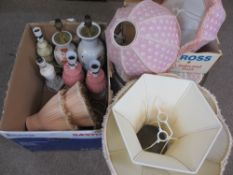 TABLE LAMPS & SHADES, A MIXED GROUP with a vintage circular wooden hat box