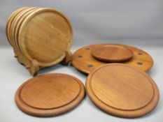 A 'DIGSMED OF DENMARK' mid-century teak type Lazy Susan, 41cms diameter, other wooden table and