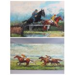 ALAN MACKAY acrylics on board (2) - horse racing scenes, both signed and dated '71 and '75, 45 x
