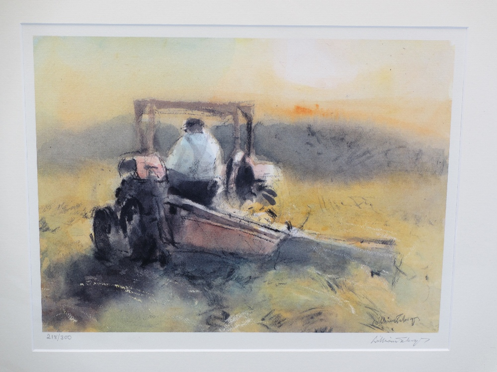 WILLIAM SELWYN limited edition prints (2) 292/300 - a farmer with a sheep dog herding sheep, 32.5 - Image 2 of 3