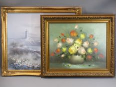 FERMER oil on canvas - still life, 39 x 28.5cms and P GORIDGE modern oil on canvas - seashore with