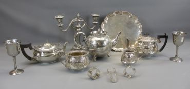 EPNS EMBOSSED THREE PIECE TEA SERVICE, bullet shaped teapot, EPNS calling card tray and other plated