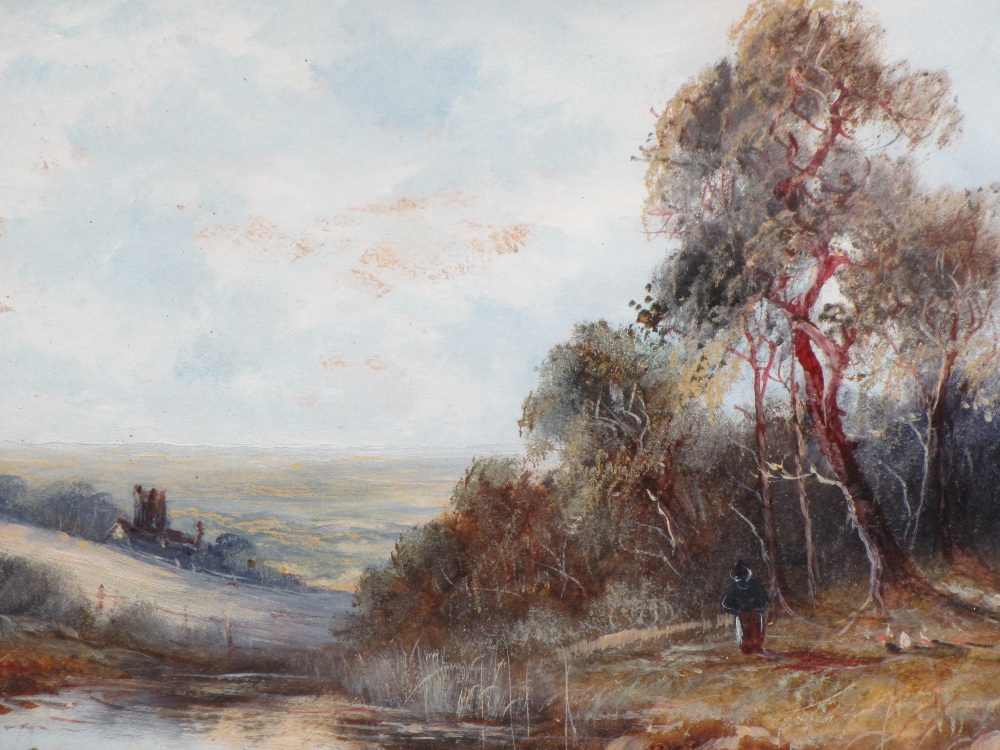 UNSIGNED OILS CIRCA 1900s, a pair - rural scenes featuring figures, thatched buildings along river - Image 2 of 2