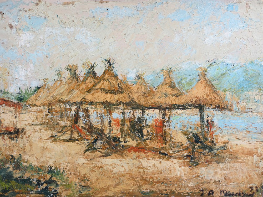 ALAN MACKAY acrylic on board - tropical beach scene with straw umbrellas, Impressionistic painting - Image 2 of 4