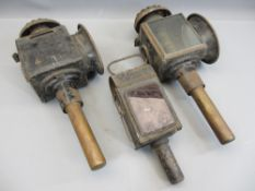 ANTIQUE COACHING LAMPS, A PAIR and an old workman's lamp marked 'Dumtath'