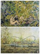 ALAN MACKAY impressionist painting after Edouard Manet's 'The luncheon on the grass' together with