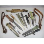 BAYONET COLLECTION (6), two leather belts and a vintage leather and wooden holster (part missing),