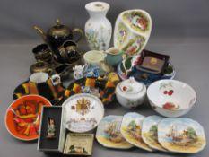 POOLE & OTHER POTTERY DISHES, Cobalt and gilt Bavarian teaset, Royal Worcester Evesham, ETC
