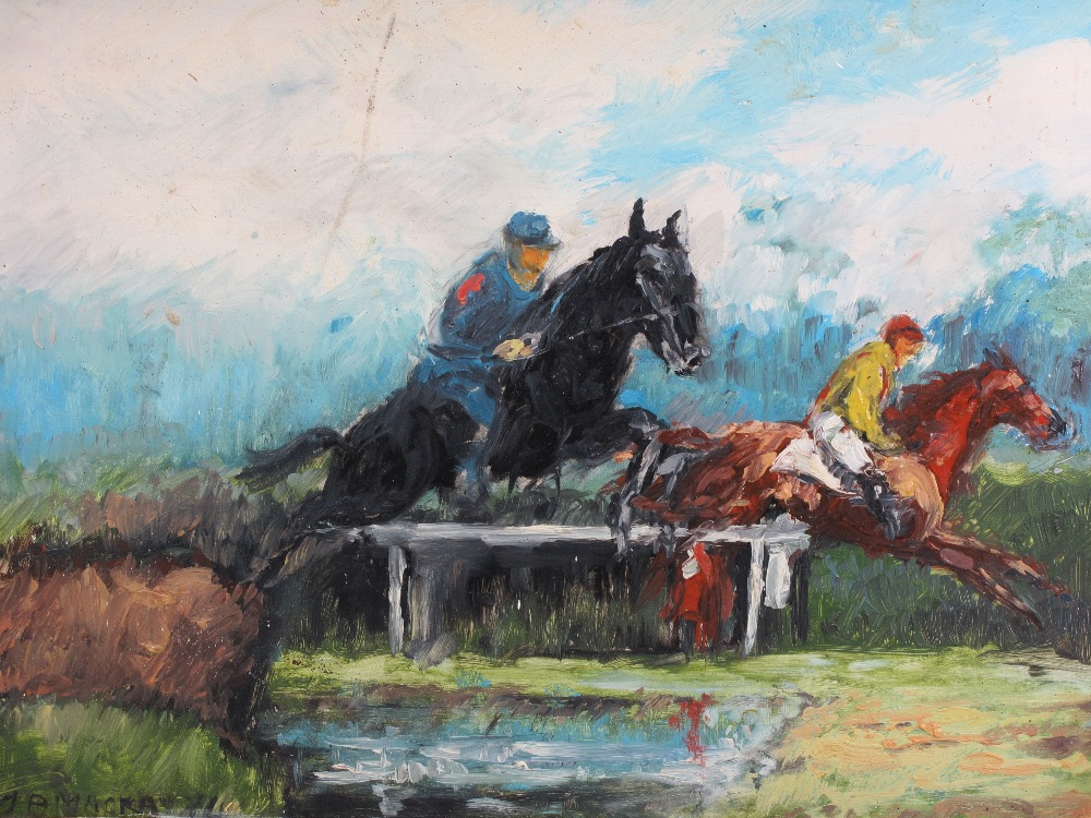 ALAN MACKAY acrylics on board (2) - horse racing scenes, both signed and dated '71 and '75, 45 x - Image 2 of 3