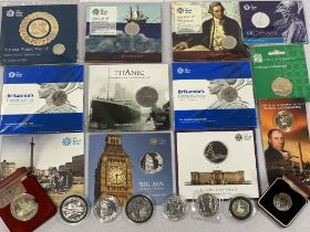 1-oz FINE SILVER COINS BY ROYAL MINT (5) dated 2008, 2011, 2014, 2015 and 2017, 2004 silver £2