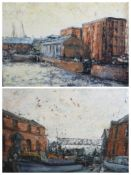 ALAN MACKAY known as L S LOWRY of Merseyside (1943 - 2008) - acrylic on board - a pair of Albert