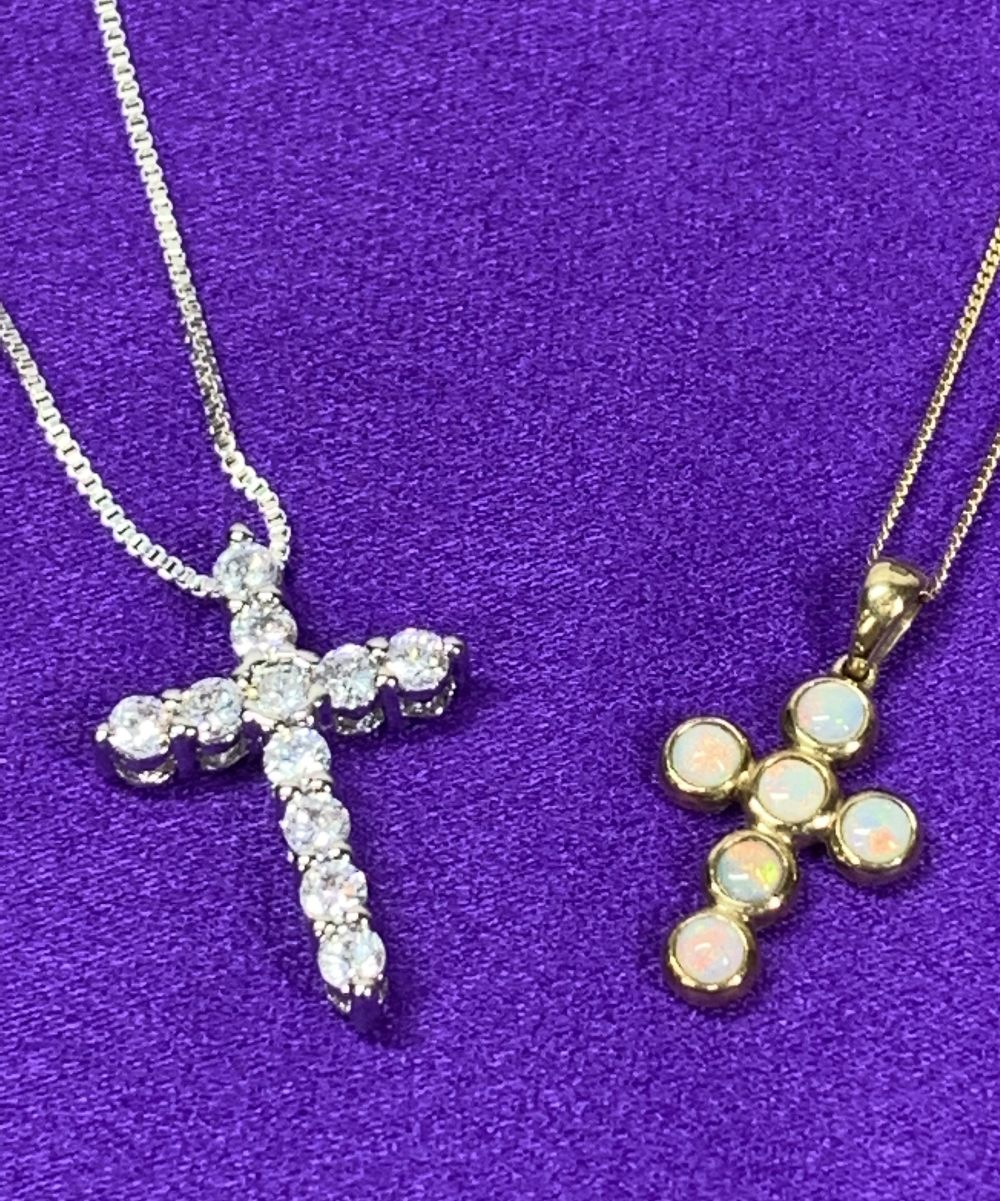 OPAL SET 9CT GOLD CROSS & NECKLACE and a paste set sterling silver cross and necklace, 1.75 and 2. - Image 2 of 4