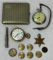 THOMAS RUSSELL & SON & SMITHS EMPIRE POCKET WATCHES, white metal cigar piercer, cigarette case,