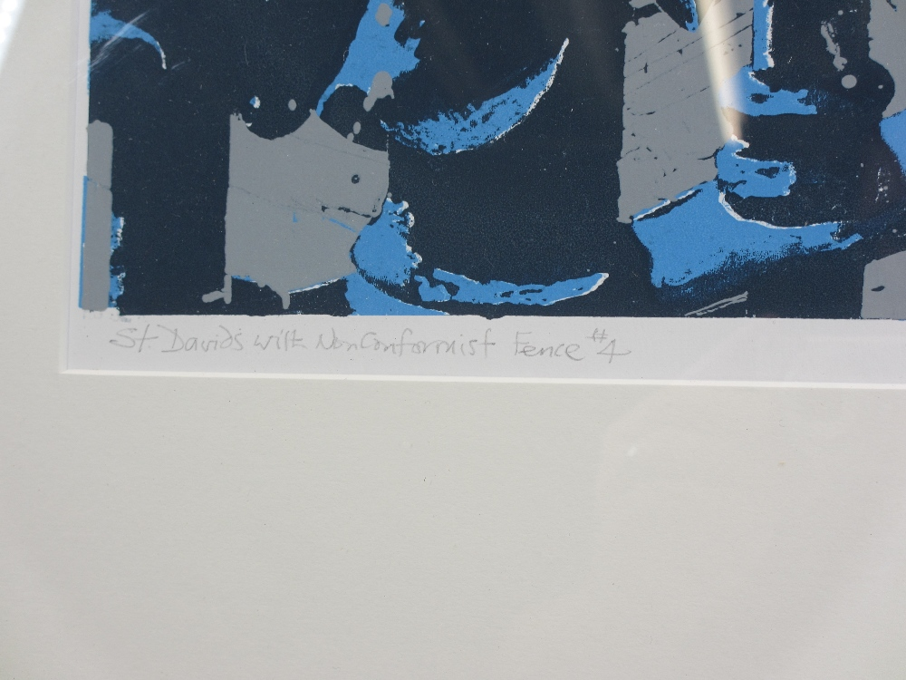 DAVID ALYN EVANS print - 'St Davids with non-conformist fence #4, signed in pencil, 40 x 29cms - Image 3 of 3