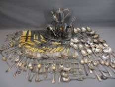 EPNS LOOSE & OTHER CUTLERY, pewter ware, EPNS hot water pot and tray on a two-handled wooden tray